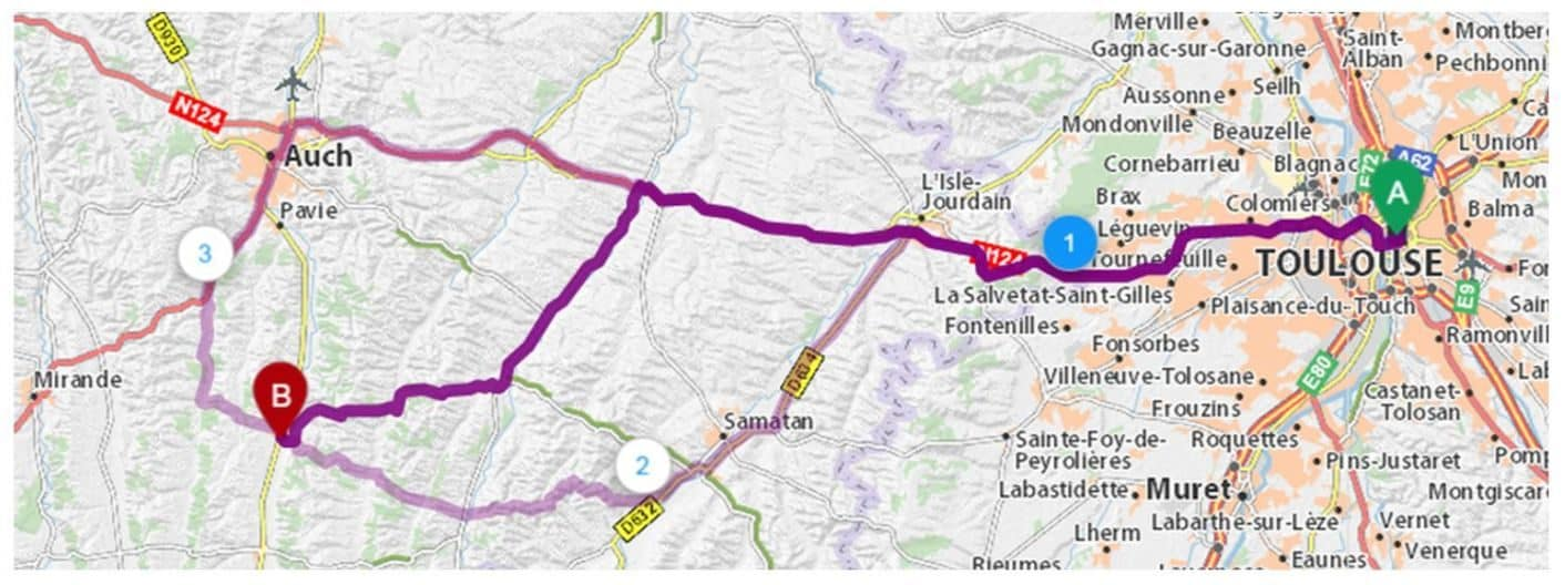 Itinéraire routier Seissan-Toulouse